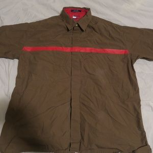 VTG Tommy Jeans Button Stripe Spellout Camp Shirt